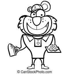 Constructor de tigres de dibujos animados con una herramienta derby