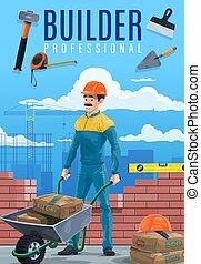 Constructor o constructor con herramientas de trabajo