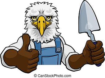 constructor, paleta, albañil, águila, herramienta, tenencia