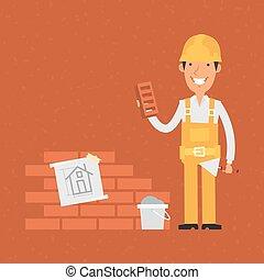 Constructor sosteniendo pala y ladrillo