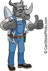 constructor, tenencia, herramienta, rinoceronte, albañil, paleta