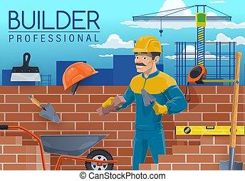 constructor, trabajador, construcción, herramientas, albañil