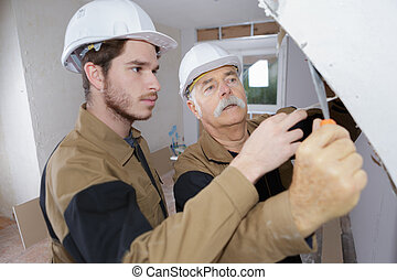 constructor, trabajo, antes, plasterering