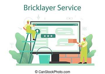 construir, en línea, o, servicio, albañil, profesional, constructor, platform.