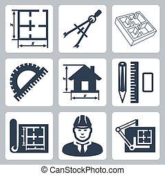 Construyendo iconos de diseño de vectores establecidos: diseño, pares de brújulas, protractor, lápiz, regla, borrador, diseño, tabla de dibujo