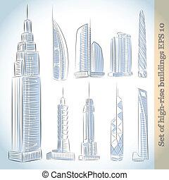 Construyendo iconos de rascacielos modernos