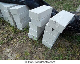 Construyendo ladrillos, materiales de piedra para trabajar