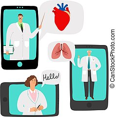 consulta, en línea, doctors, telemedicine
