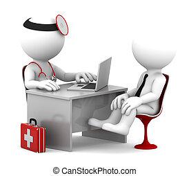 Consulta médica. Doctor y paciente hablando en la oficina