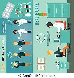 consultation., médico médico, paciente, hablar, medicación, room.