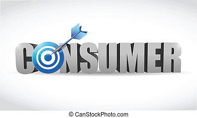 consumidor, palabra, blanco, ilustración