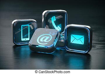 Contáctanos página web y concepto de Internet. Métodos de contacto. Señales de teléfono, móvil, carta y correo.