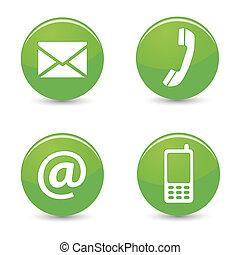 Contáctanos web botones verdes iconos