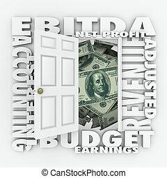 Contabilidad de presupuesto de EBITDA reportando ganancias de inversión