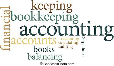 contabilidad, nubes, palabra