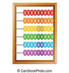 Contabilidad, un ábaco arcoíris para cálculos financieros está en un fondo blanco