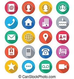 Contacta con iconos de color plano