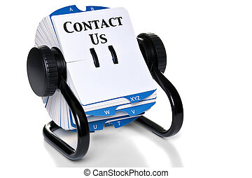 Contacta con nosotros en el índice de la tarjeta rotatoria