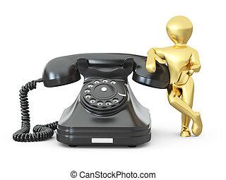Contacta con nosotros. Hombres con teléfono. 3D