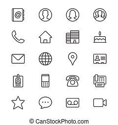 contacto, delgado, iconos