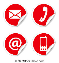 contacto, pegatinas, rojo, nosotros, iconos