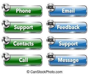Contactos y apoyo elementos metálicos y brillantes en el sitio web. Ilustración del vector