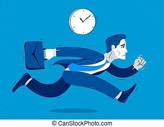 contador, empresa / negocio, tarde, o, apuro, rush., lindo, trabajador, cómico, hombre de negocios, divertido, corra, caricatura, empleado, ilustración del hombre, vector