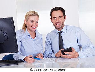 contadores, sonriente, discutir, informes