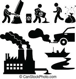 contaminación, global, verde, warming, icono