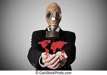 contaminación, o, global, concepto, pandemia