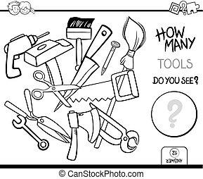 Contando herramientas de colorear la actividad de la página