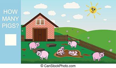 Contando juego para niños de preescolar. Cuenta cuántos cerdos, juegos matemáticos educativos. Ilustración de vectores.