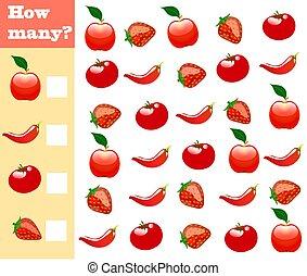 Contando juego para niños de preescolar. Juego de matemáticas educativo. ¡Cuenta cuántas frutas, verduras, bayas y graba el resultado!