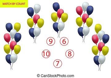 Contando juego para niños de preescolar. Una tarea de matemáticas. ¿Cuántos objetos? Aprendiendo matemáticas, números, lógica.