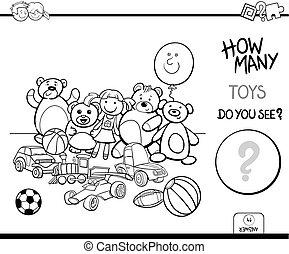 Contando juguetes de colores educativos