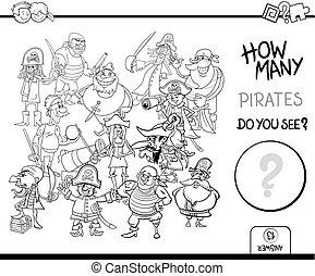Contando la actividad de los piratas coloreando la página