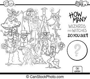 Contando magos coloreando la actividad de las páginas