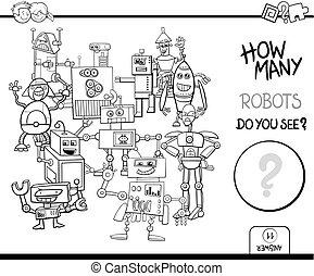 Contando robots coloreando páginas