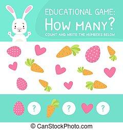 contar, cómo, escribir, debajo, educativo, muchos, caricatura, juego, números, vector, ilustración, matemático, preescolar, conde, niños, juego