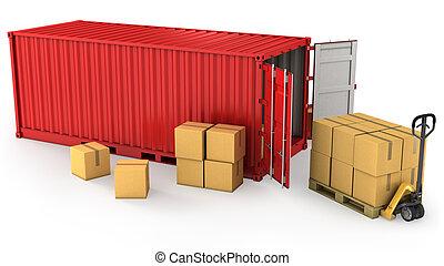 contenedor, abierto, muchos, paleta, cajas, cartón, rojo