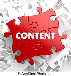 contenido, puzzle., rojo