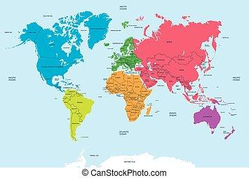 Continentes del mundo y el mapa político