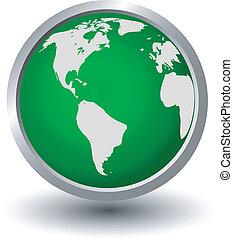 Continentes en una esfera verde, Butto