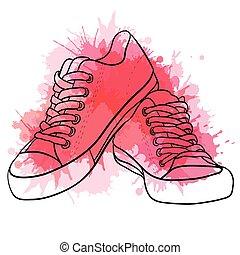 Contornar ilustraciones de zapatillas con salpicaduras de acuarela.