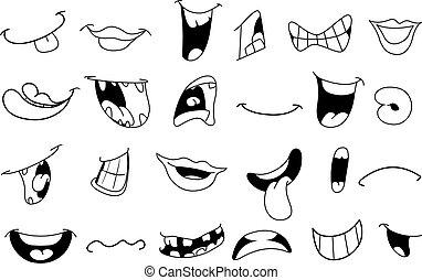contorneado, caricatura, bocas