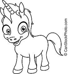 contorneado, unicornio, sonriente