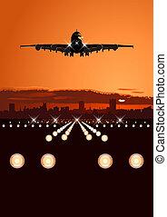 contorno, airliner, aterrizaje