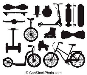contorno, alternativa, iconos, ciudad, adminículos, transporte