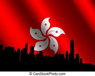 contorno, bandera, hong kong