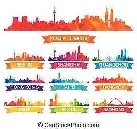contorno, ciudades, asiático, colorido